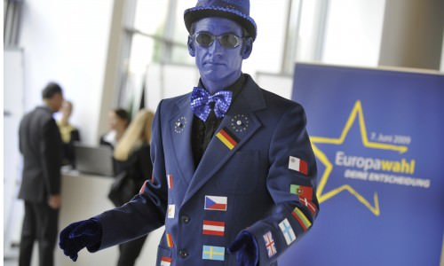 A pantomime at the European Parliament in Berlin