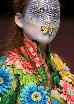 butterfly over mouth model fashion runway