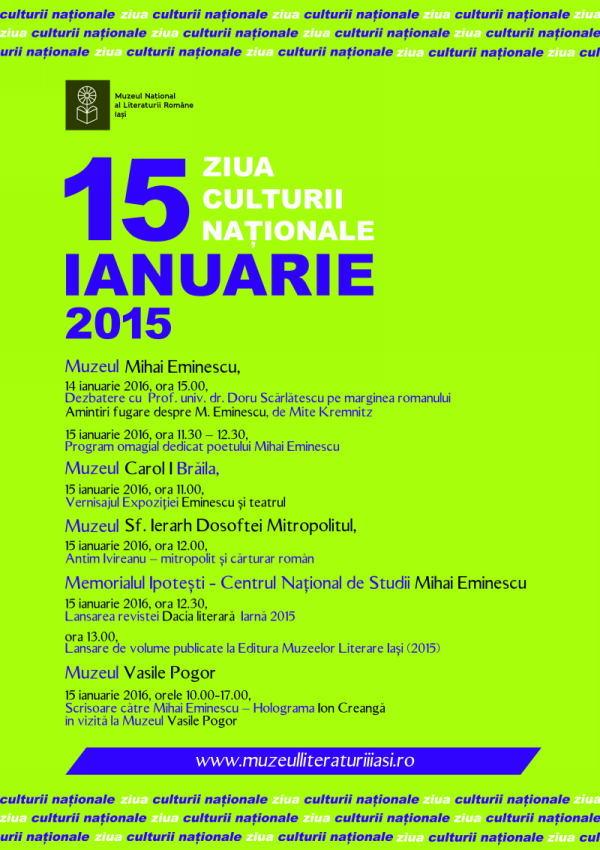 Afis Ziua Culturii Nationale 2016 d