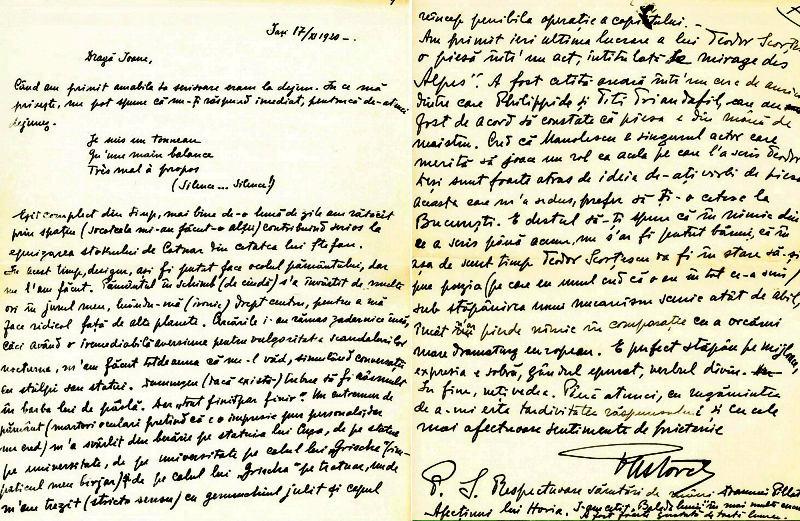 Pastorel Teodoreanu catre Ion Pillat - pag. 1 si 7